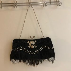 Rare black skull purse/clutch with fringe